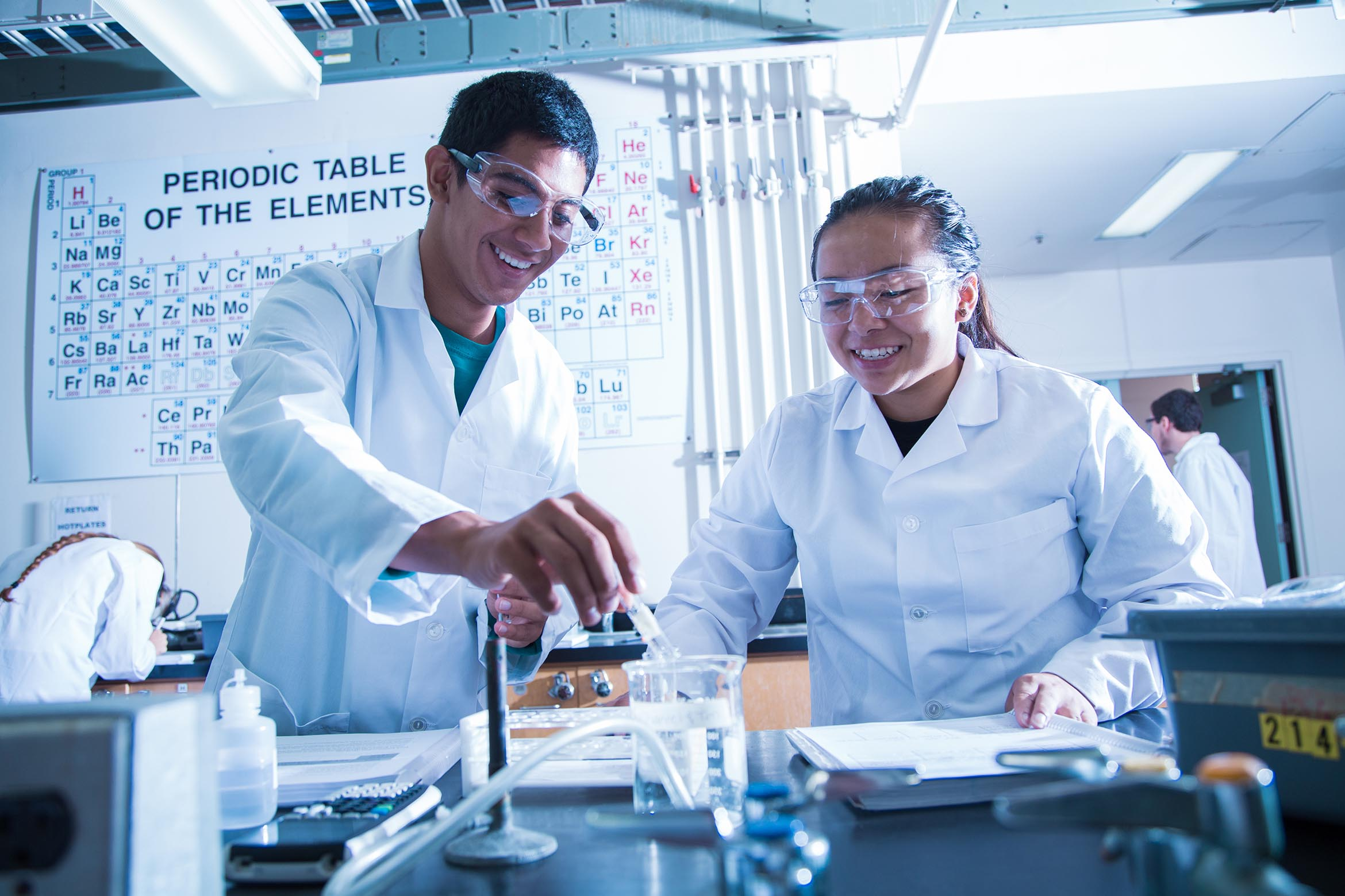 This is an image of two students doing chemistry research in a lab.